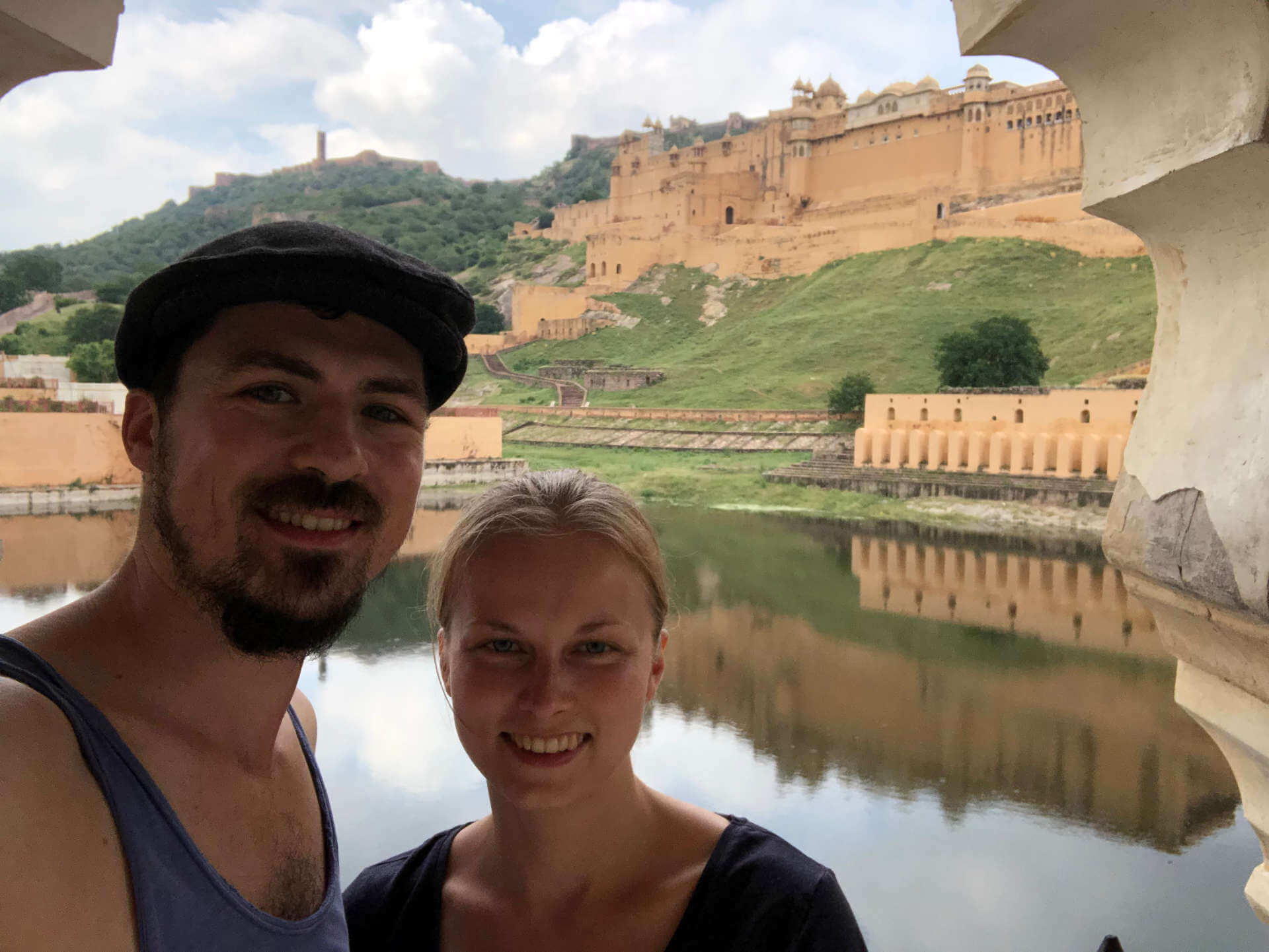 Indien Jaipur Amber Fort Selfie Draussen
