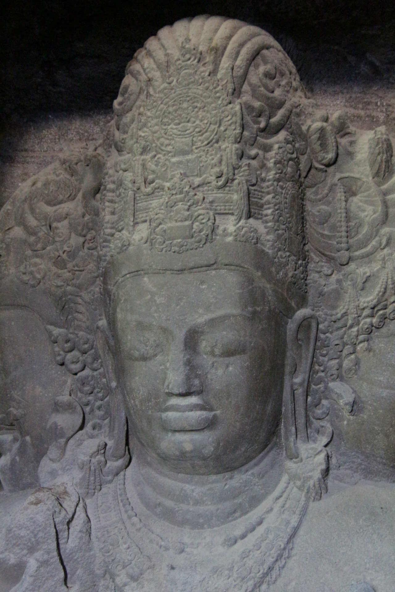 Indien Mumbai Elephanta Island Statue 2