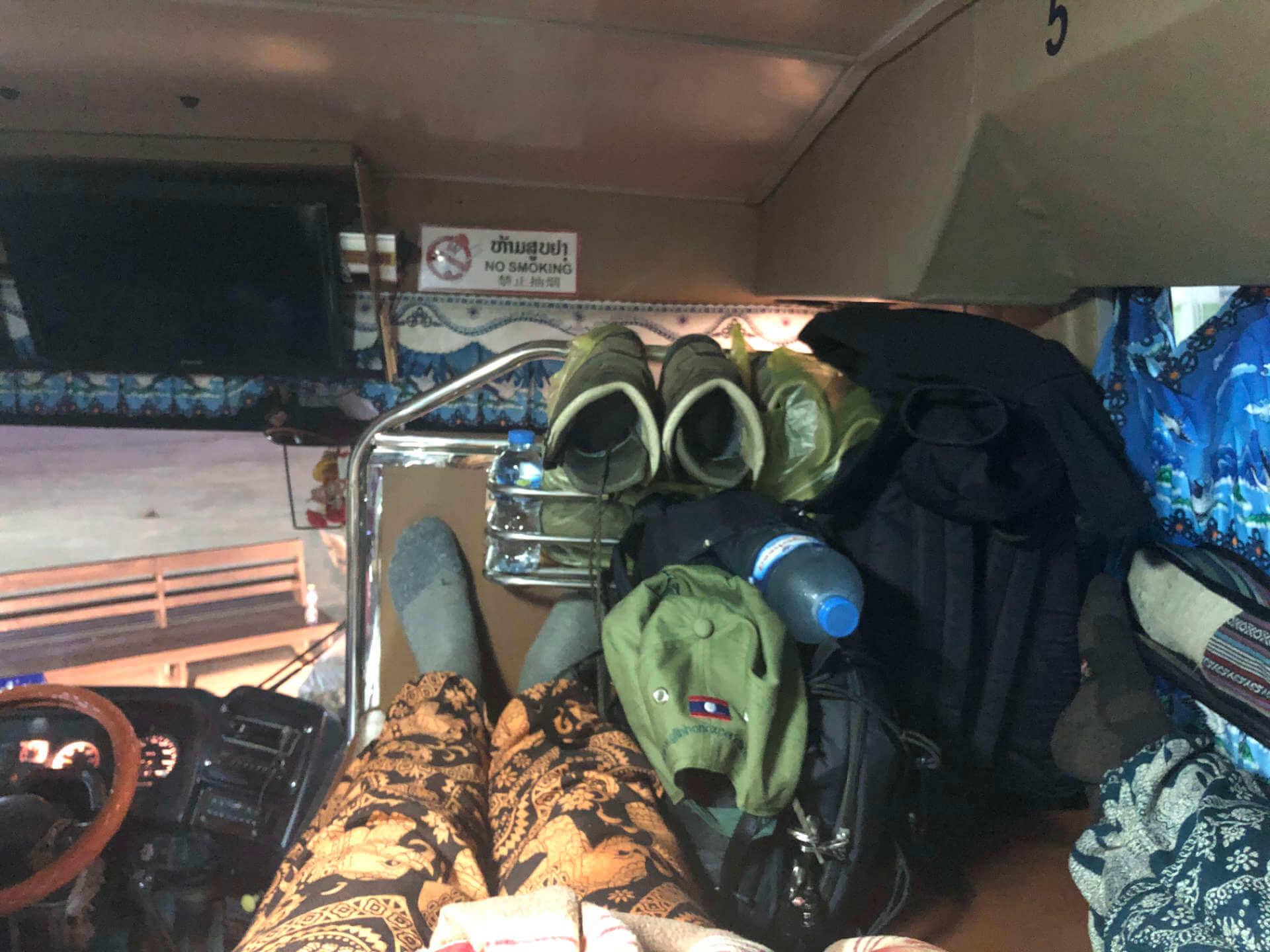 Bett vom Bus nach Luang Prabang