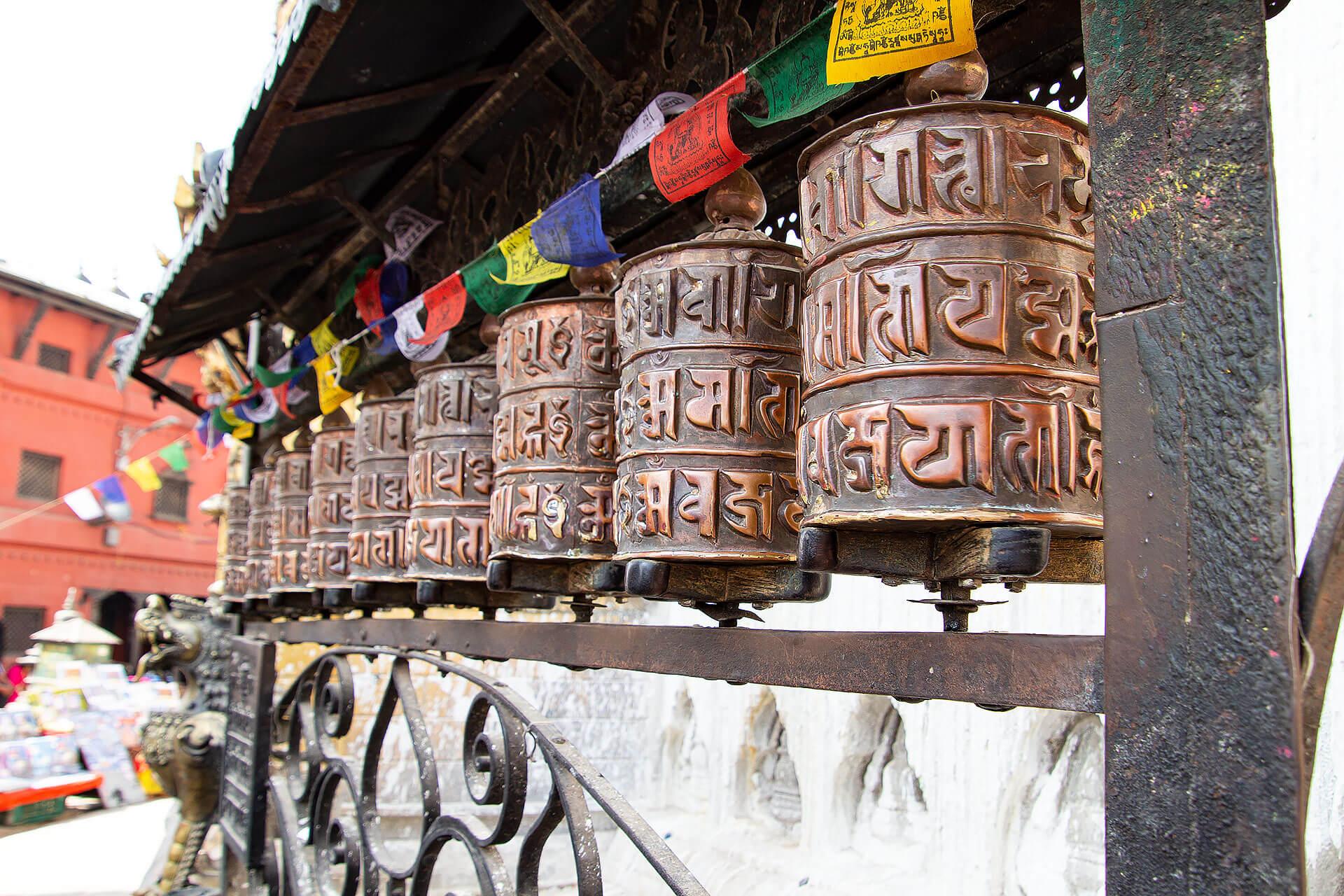 Swayabhunath Tempel Gebetsmühlen