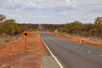 Straße im Outback mit Känguruschild