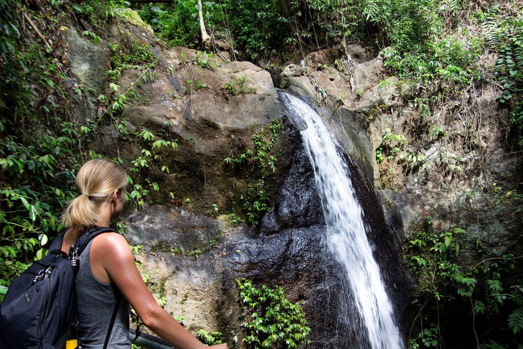 Taschi beim Wasserfall bei der Goa Gajah Höhle
