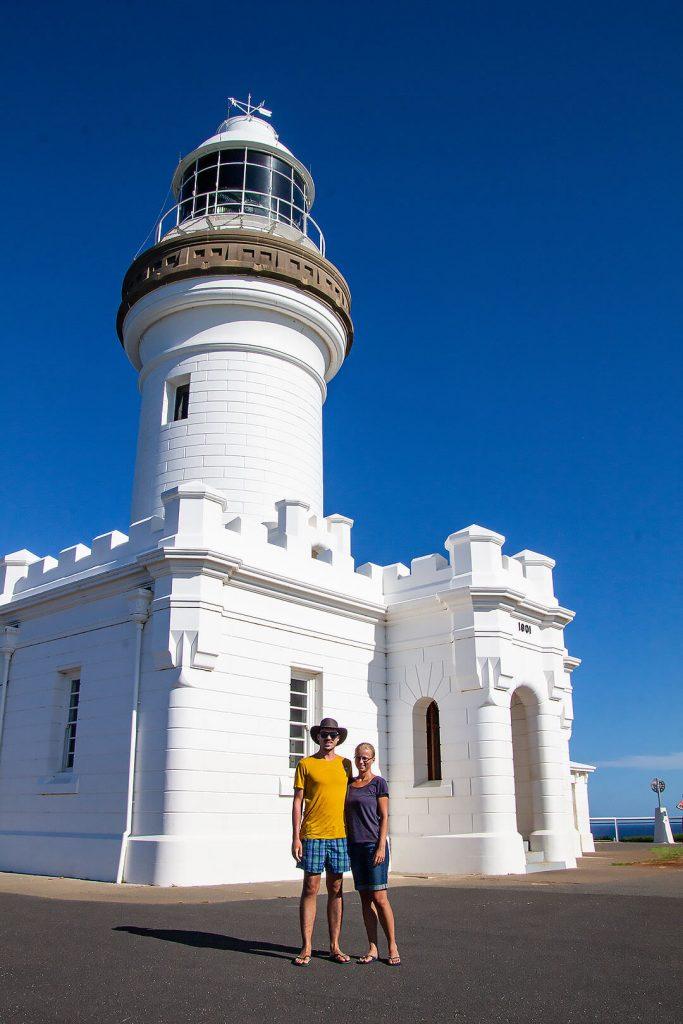 Taschi und Berti am Leuchtturm in Byron Bay