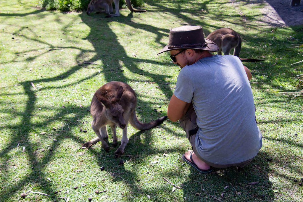 Berti mit einem Känguru am Cave Beach