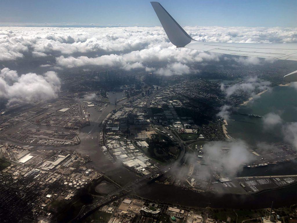 Melbourne von oben aus dem Flugzeug