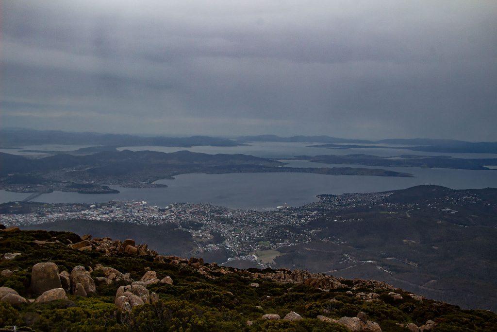 Blick auf Hobart vom Mount Wellington