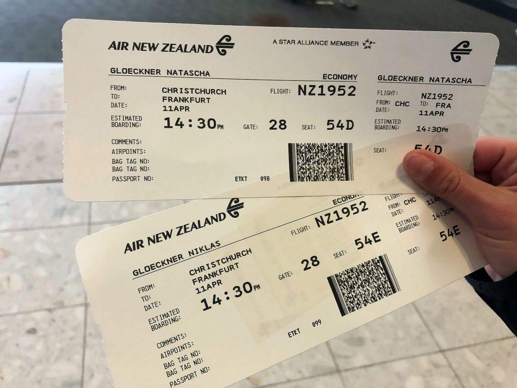 Boardingpass von Neuseeland nach Deutschland